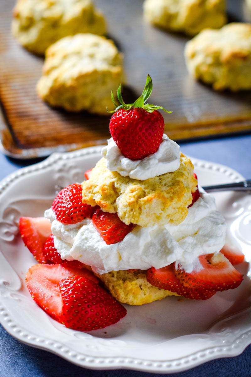 easy strawberry shortcake recipe with biscuit sliced in half and topped with whipped cream and fresh strawberries on white plate with fork