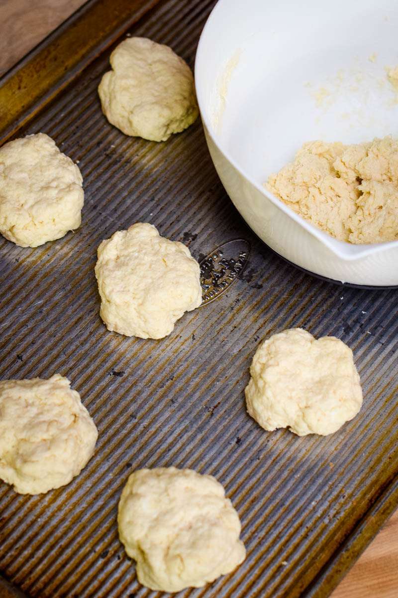 shaping shortcake biscuits on baking sheet for strawberry shortcake