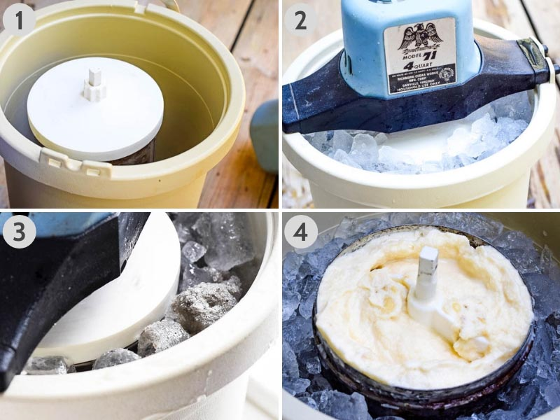 steps for freezing homemade ice cream in ice cream maker