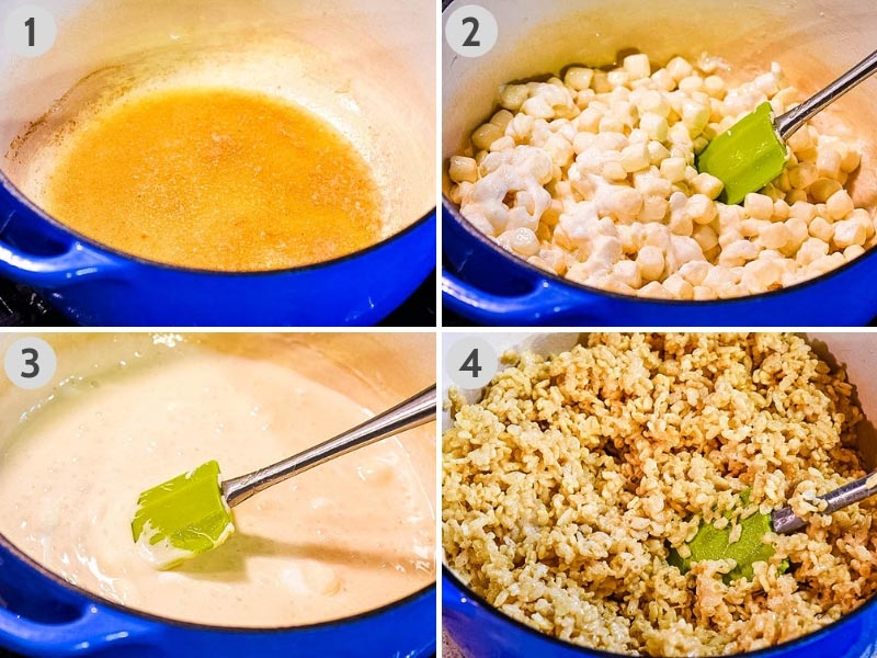 steps for making Rice Krispie treats, including melting the butter and marshmallows, then stirring everything together with Rice Krispies cereal