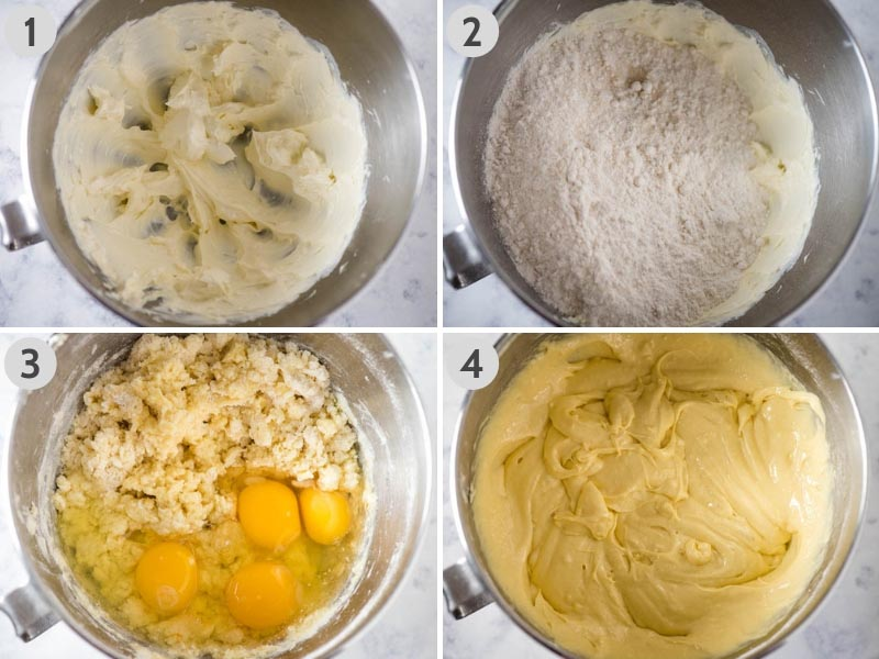 steps for how to make pound cake batter for easy pound cake recipe in KitchenAid mixing bowl