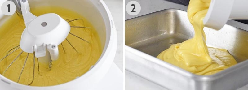 mixing lemon cake with mixer and pouring cake batter into metal cake pan