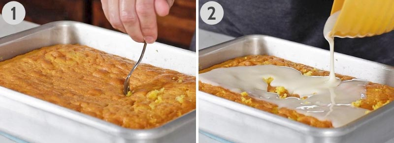 poking holes in lemon poke cake with fork and pouring lemon glaze for cake over the holes