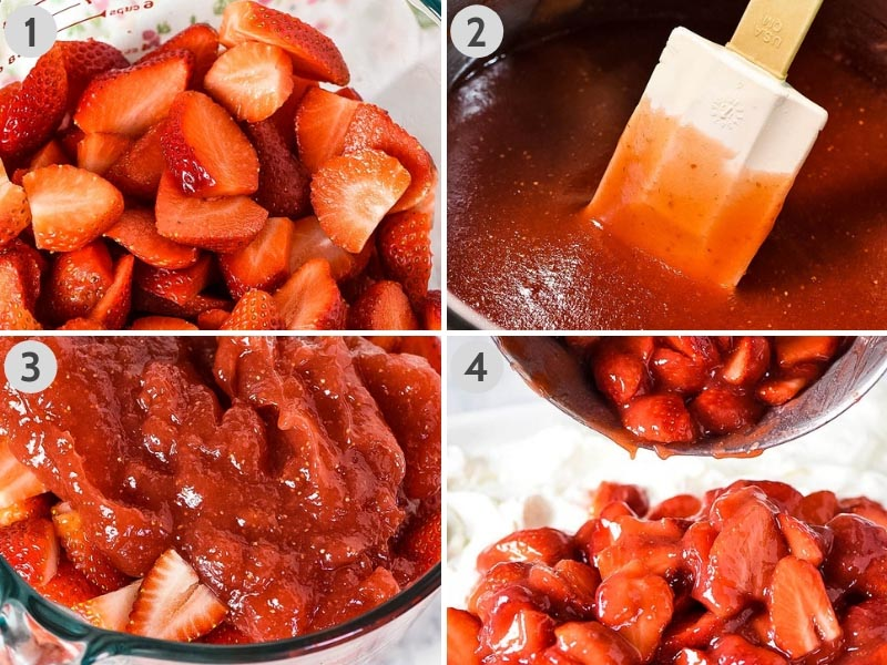 steps for making strawberry delight recipe, including slicing strawberries and making a strawberry pie filling or sauce