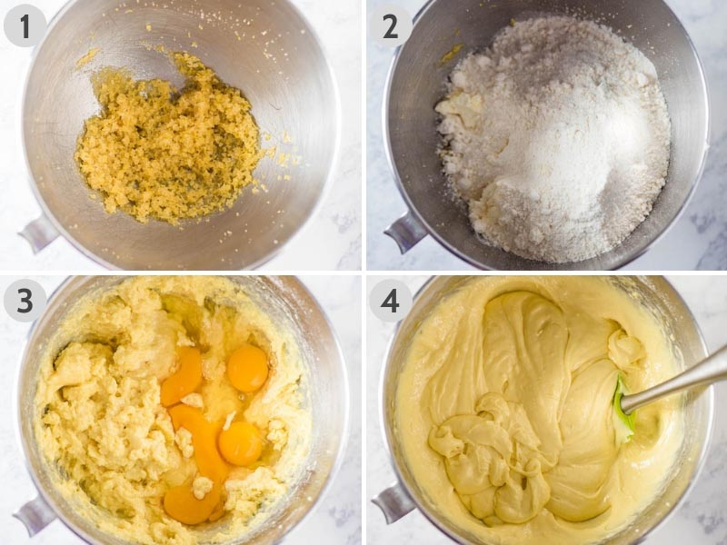 steps for how to make lemon pound cake with cake mix, lemon zest, eggs, and other ingredients in metal mixing bowl