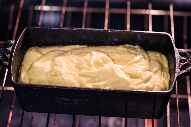 baking lemon pound cake in cast iron bread pan