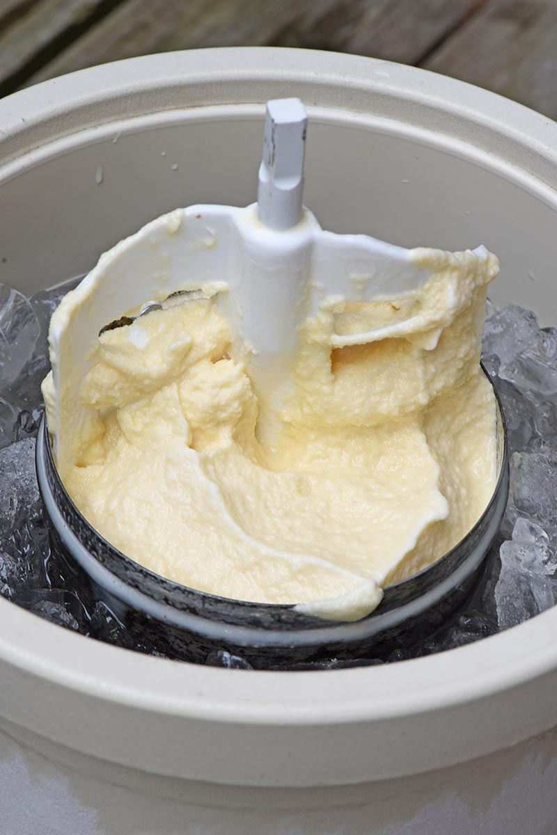 metal ice cream canister in ice cream maker with churning paddle in vanilla ice cream