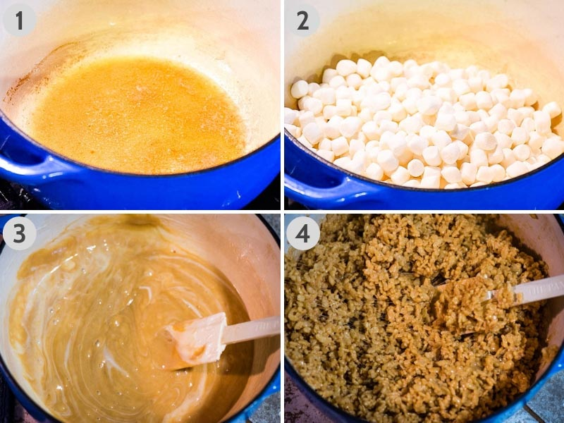 steps for how to make peanut butter Rice Krispie treats in blue Dutch oven, using butter, mini marshmallows, peanut butter, and Rice Krispies cereal