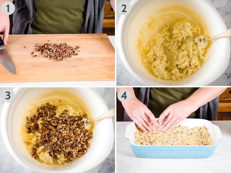 steps for how to make pecan crust by chopping pecans on wooden cutting board, mixing ingredients for pie dough in a white mixing bowl, and pressing the pie crust into a blue baking dish