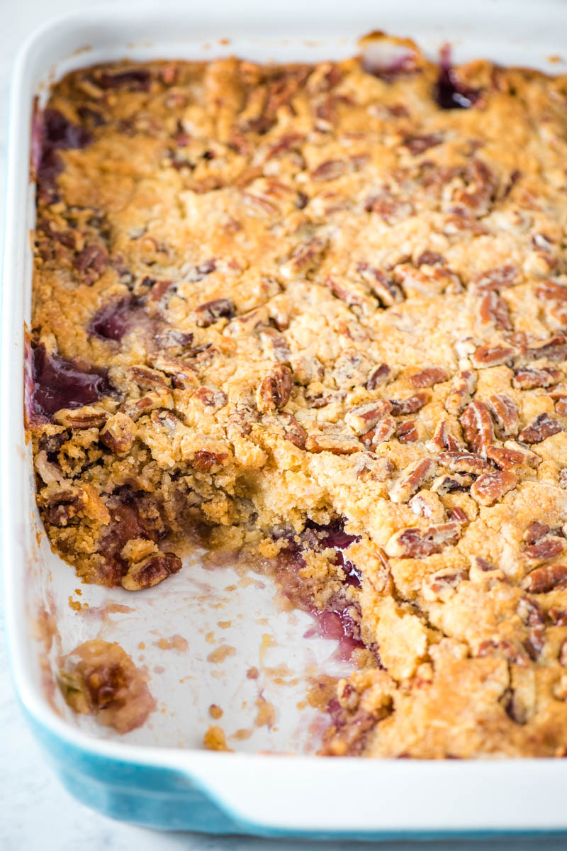 gluten-free cherry dump cake in blue baking pan