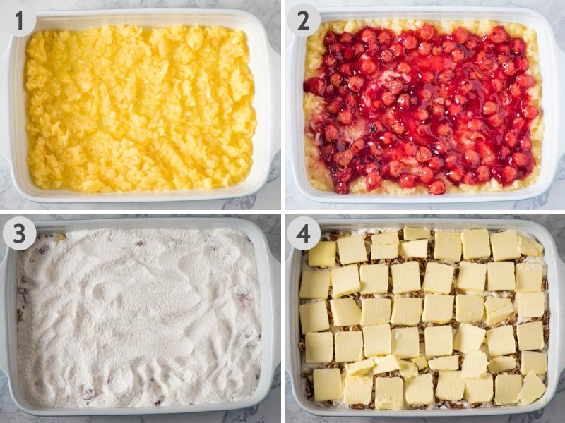 steps for how to make cherry dump cake, layering crushed pineapple, cherry pie filling, dry cake mix, chopped pecans, and sliced butter in baking dish