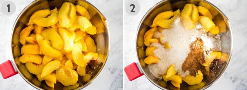 how to make peach crisp with fresh peaches by mixing up peach filling in large stainless steel mixing bowl