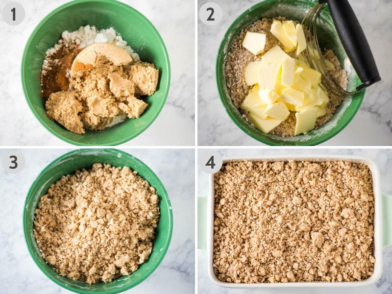 how to make peach crisp topping in green mixing bowl and crumble over fresh peaches