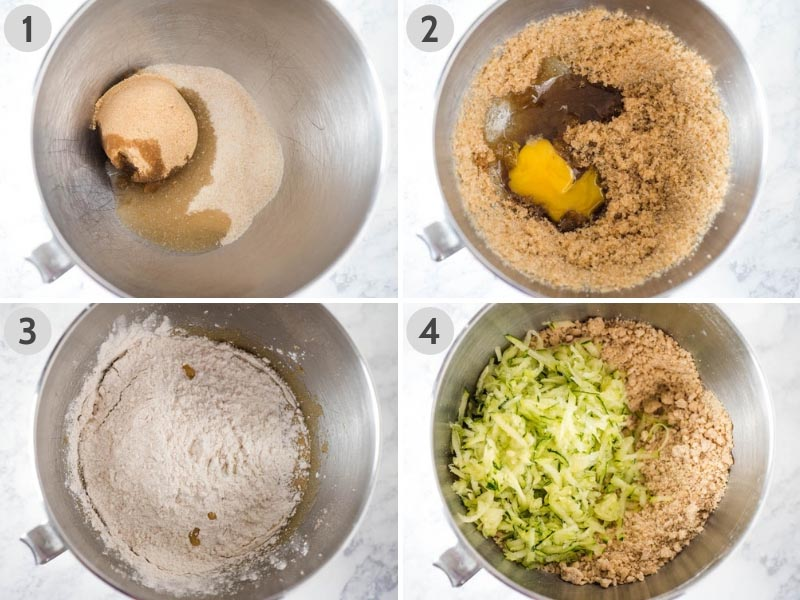 steps for how to make zucchini bread, mixing the batter in mixing bowl
