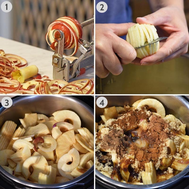 how to make apple butter by coring, peeling, and slicing apples into the Instant Pot pressure cooker with spices, sugars, and other ingredients