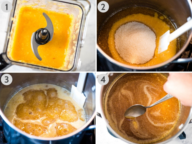 how to make peach jam without pectin by crushing the peaches in a blender, and cooking both sugar and peaches in a stock pot, and skimming any foam off the top