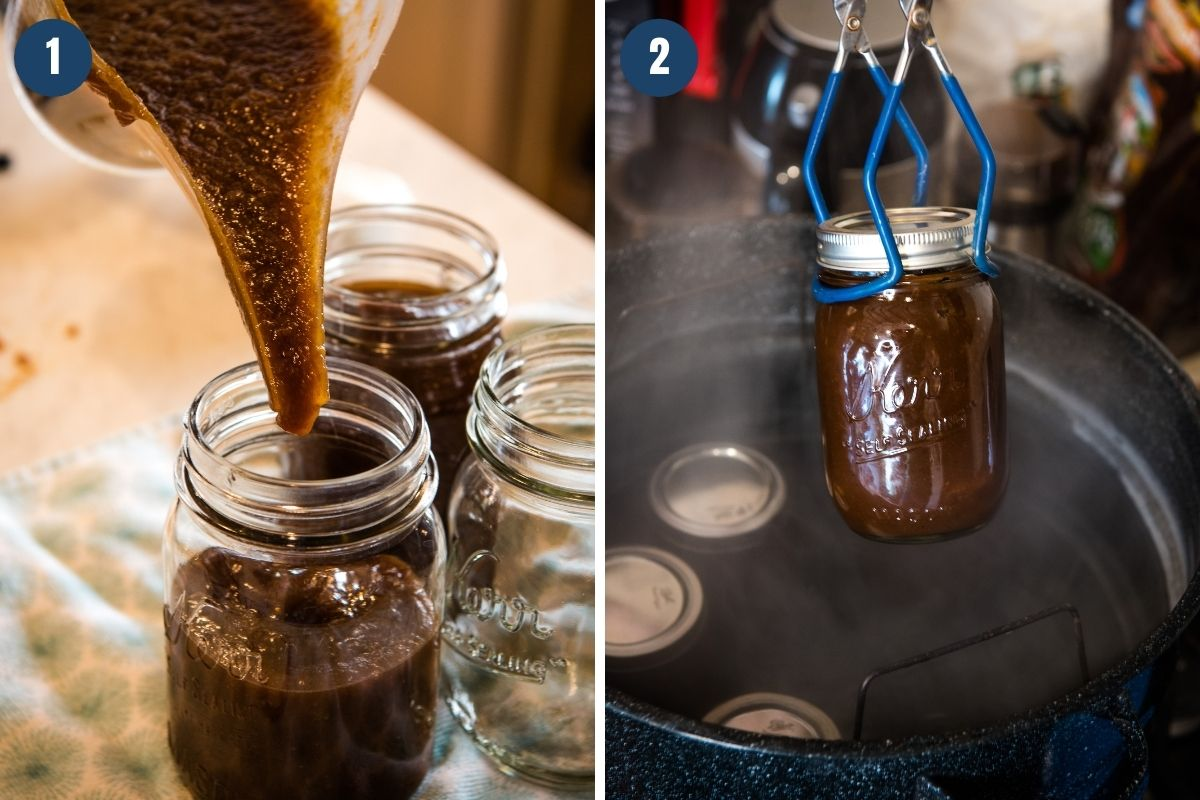 pouring apple butter into canning jars with funnel pitcher, and placing jars in hot water bath canner with jar lifter