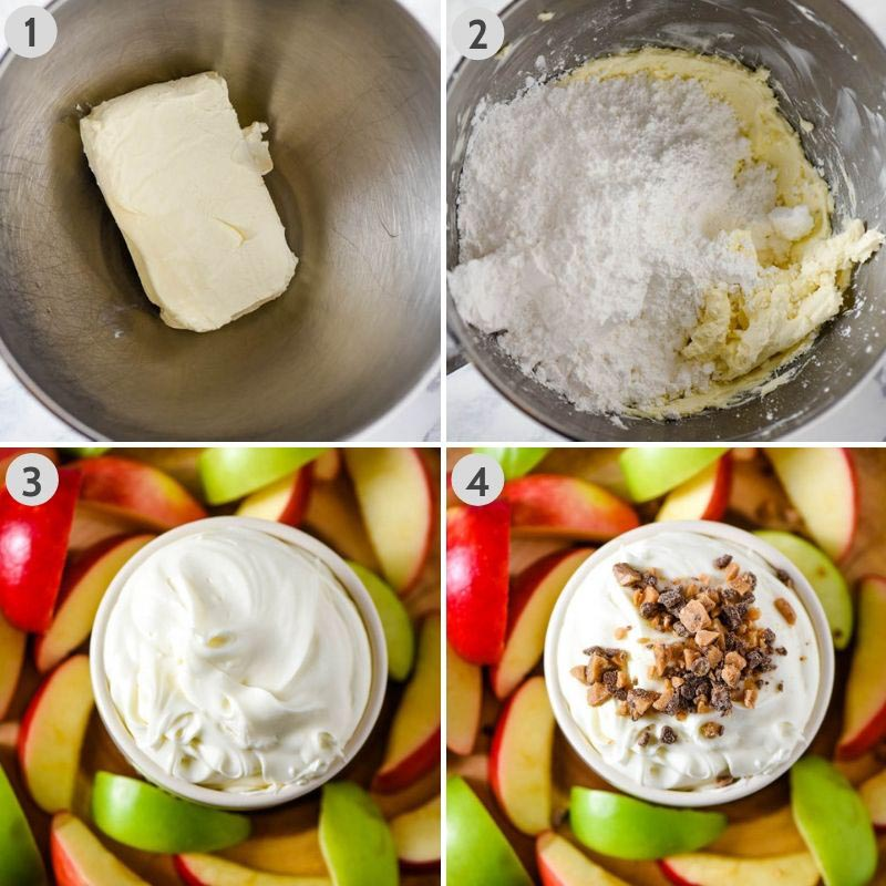 steps for how to make caramel apple dip