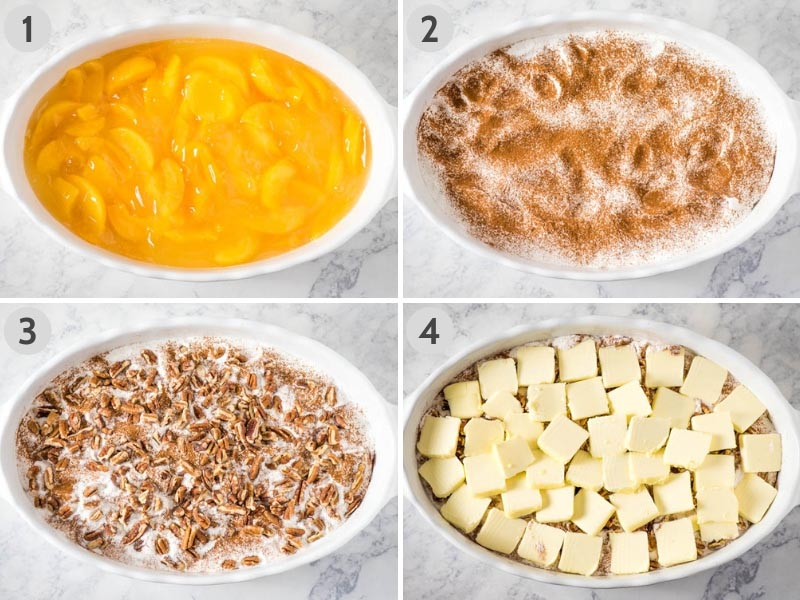 how to make peach dump cake with peach pie filling by layering peaches, dry cake mix, cinnamon, pecans, and butter in white baking dish