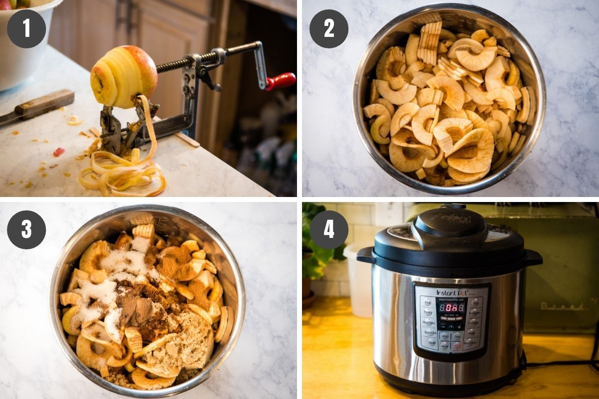 how to make apple butter by coring, peeling, and slicing apples into the pot with spices, sugars, and other ingredients, then pressure cooking in the Instant Pot
