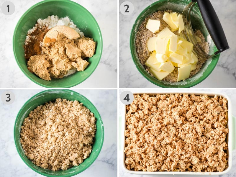 how to make apple crisp topping in green mixing bowl with pastry blender and crumbled over apple filling