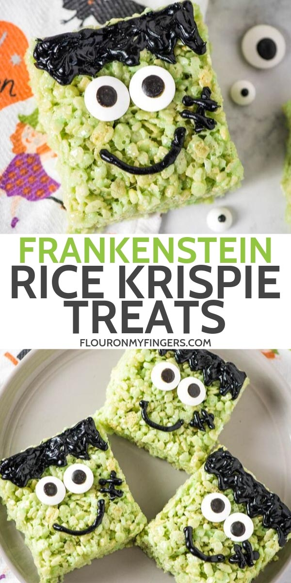 easy Frankenstein Rice Krispie treats recipe
