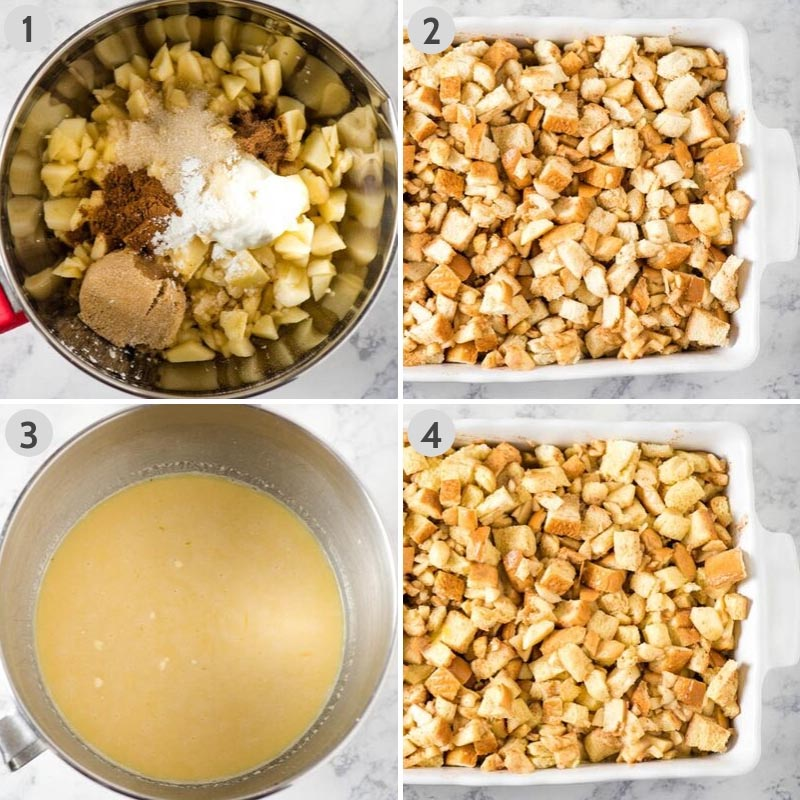 steps for how to make apple French toast casserole in metal mixing bowl and white baking dish