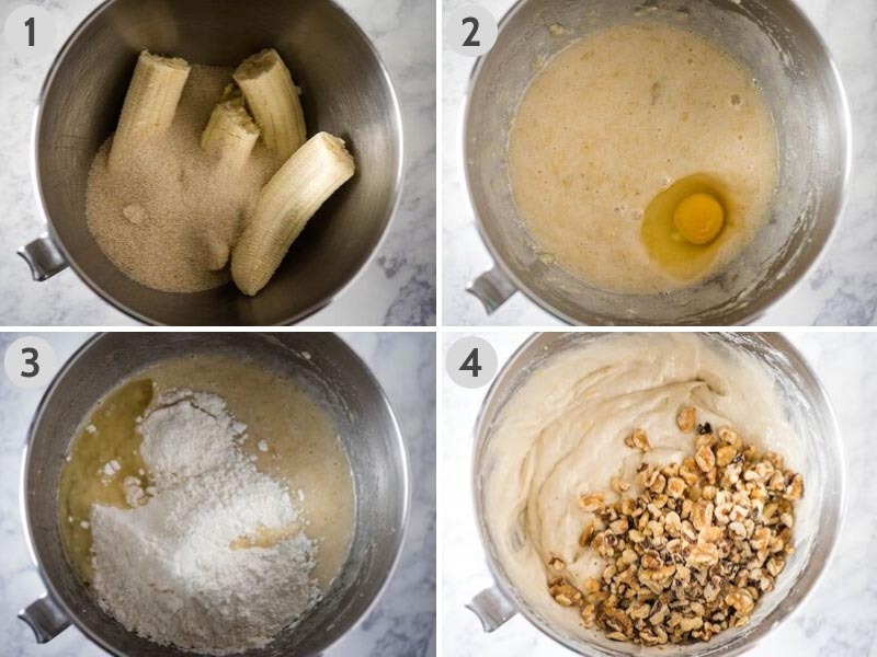 how to make banana bread by mixing ingredients in mixing bowl
