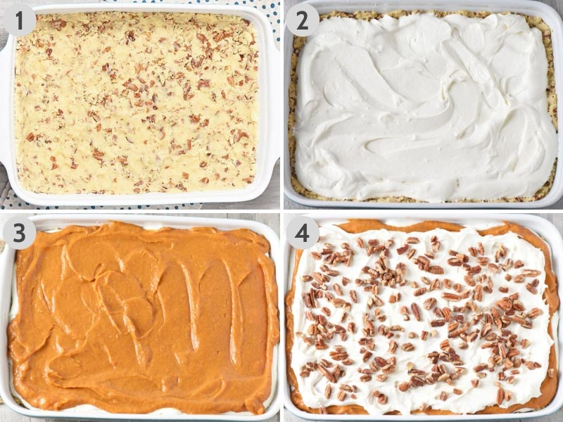 how to make pumpkin delight by adding layers on top of crust in baking dish