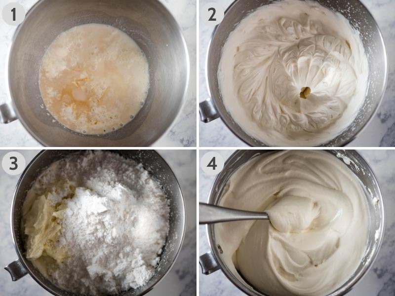 mixing up Dream Whip, cream cheese, and powdered sugar for pumpkin delight recipe in mixing bowl