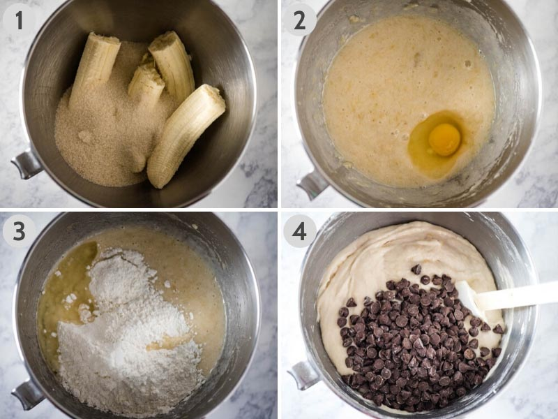 steps for how to make chocolate chip banana bread in KitchenAid mixing bowl