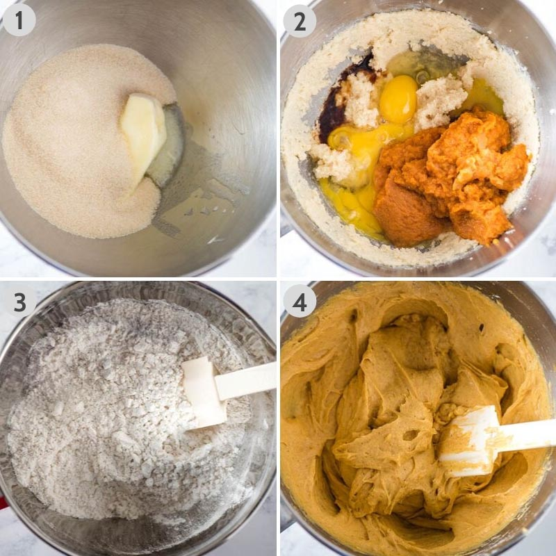how to make pumpkin muffins by mixing ingredients to make muffin batter in large bowl