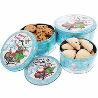 Christmas Nesting Cake Tins - 3-Set Round Nested Cookie Candy Storage Containers with Lids