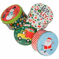 Christmas Gift Tins, Small Box for Cookies or Candy (Set of 4)