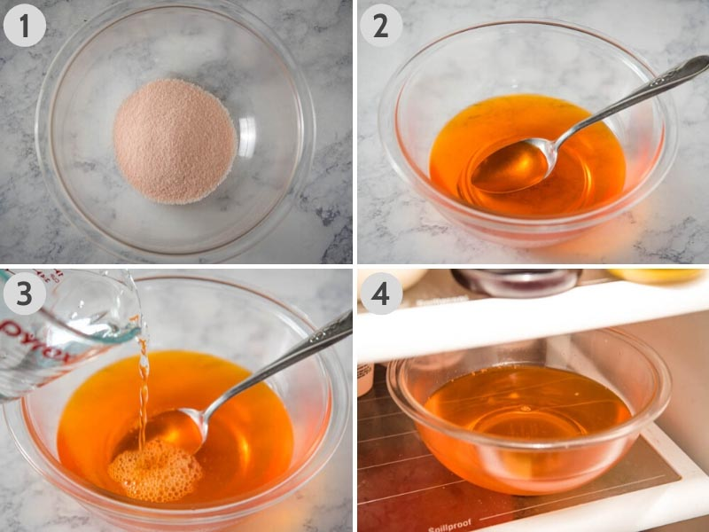 step by step how to make Jello in glass bowl with water and orange gelatin mix