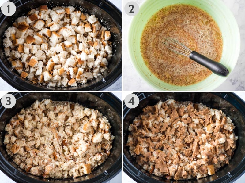 steps for how to make slow cooker French toast by layering ingredients in slow cooker and whipping up egg mixture in mint green bowl