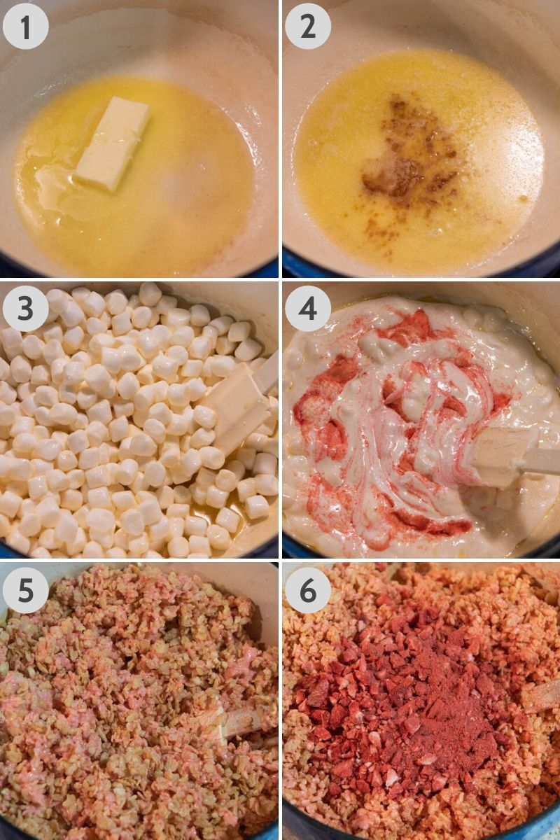 how to make strawberry Rice Krispie treats using by melting butter in Dutch oven, mixing it with vanilla, marshmallows, strawberry Jello, cereal, and freeze dried strawberries
