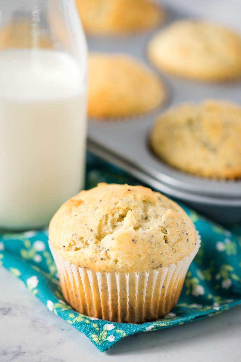 one lemon poppy seed muffin in white cupcake liner, sitting on teal and white flowered linen napkin with bottle of milk and muffin tin full of muffins behind