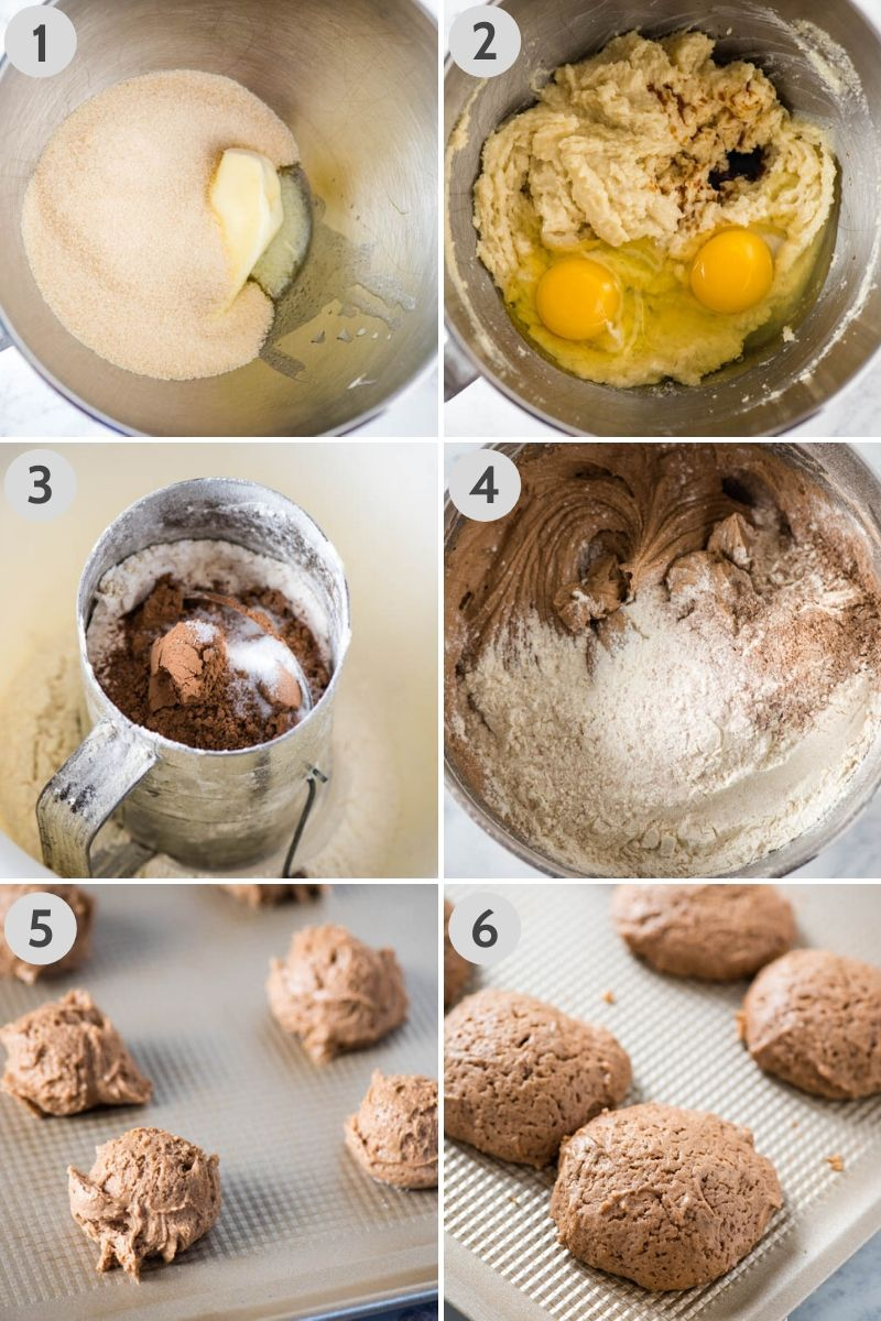 steps for how to make whoopie pies from scratch, including creaming butter and sugar, adding egg and vanilla, sifting dry ingredients, and adding dry ingredients and milk to form dough, then scooping cookie dough onto cookie sheet, and baking chocolate cookies