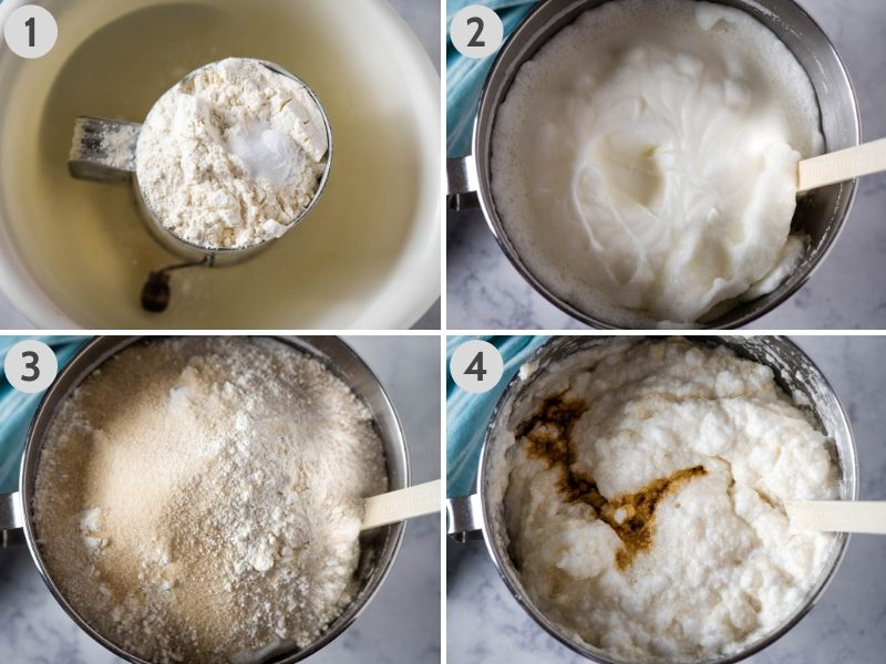 steps for how to make angel food cake, including sifting the dry ingredients, whipping the egg whites into soft peaks, adding dry ingredients to egg whites, and adding vanilla to cake batter in metal KitchenAid mixing bowl