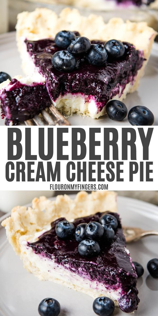 double image of blueberry cream cheese pie with text; top image is slice of pie on gray plate with bite on fork; bottom image is whole slice of pie on gray plate with fresh blueberries and fork