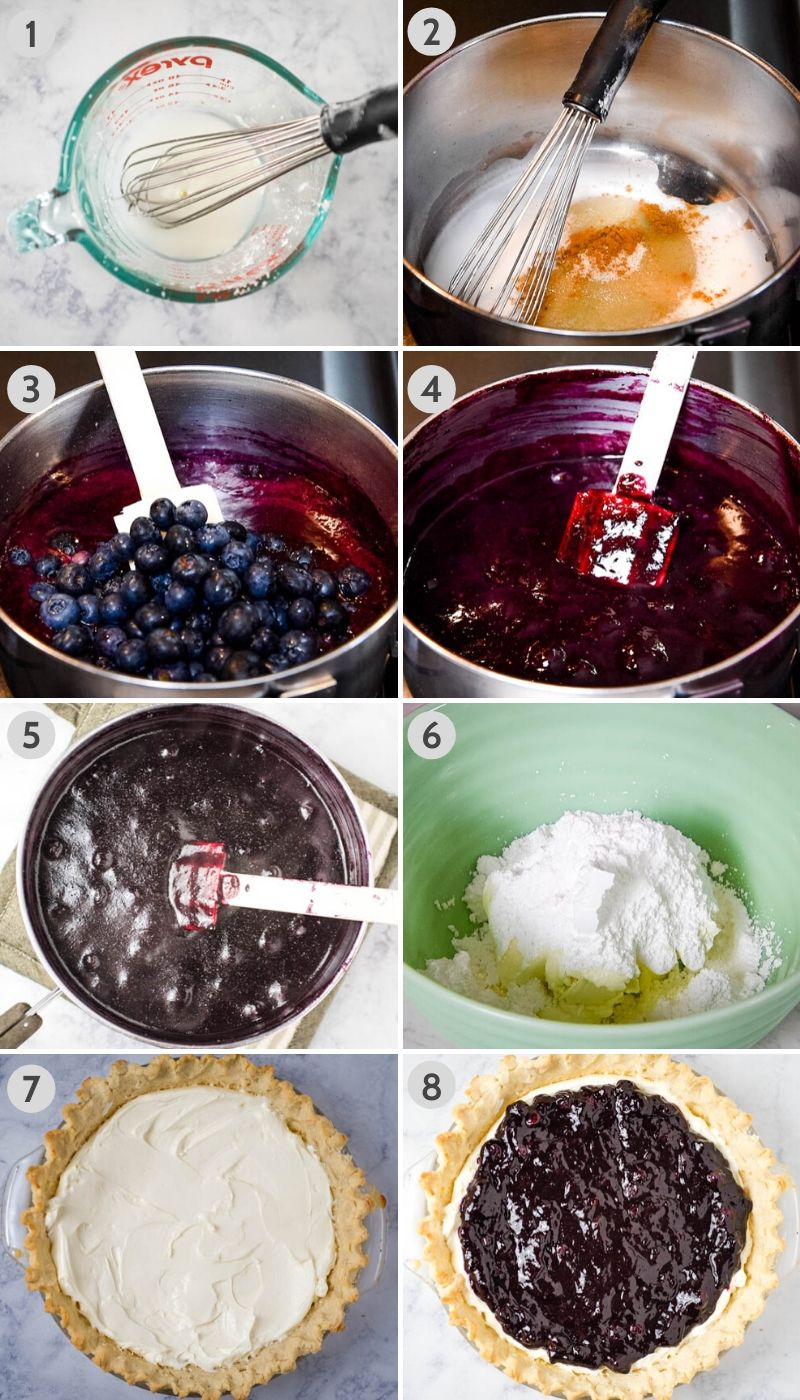 8 steps for how to make blueberry cream cheese pie, including whisking corn starch and water, then mixing with lemon juice, sugar, and cinnamon in saucepan; adding blueberry purée and whole blueberries to saucepan, cooking blueberry pie filling in saucepan 'til thickened; cooling pie filling; cream cheese and powdered sugar in green mixing bowl; cream cheese filling in pie crust, and blueberry pie filling on top of cream cheese filling in pie plate