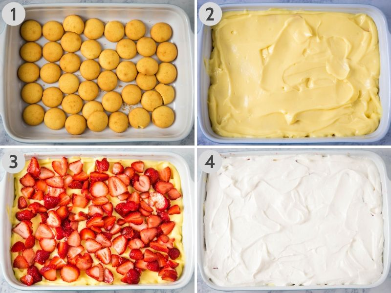 making strawberry layered dessert by layering vanilla wafers in 9x13 baking dish, then vanilla pudding, then fresh sliced strawberries, then Dream Whip cream cheese layer