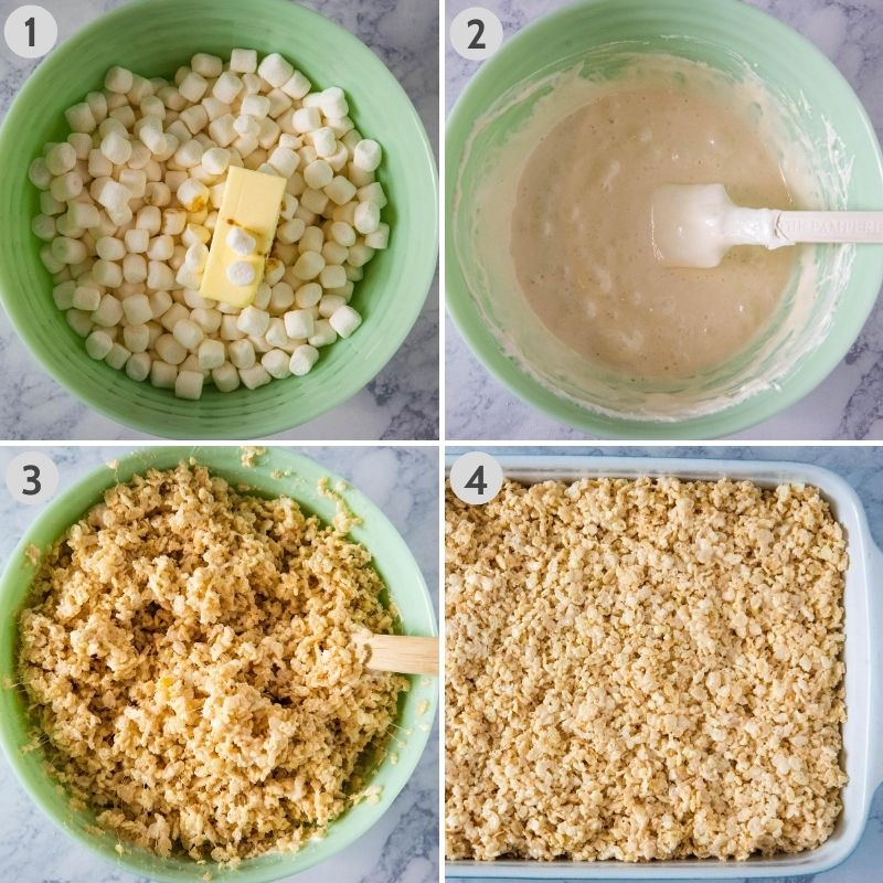 steps for how to make microwave Rice Krispie treats from scratch, including mixing butter and marshmallows in mint green microwave safe bowl, stirring melted marshmallows until smooth, stirring cereal into marshmallow mixture, and lightly pressing marshmallow treats into baking dish