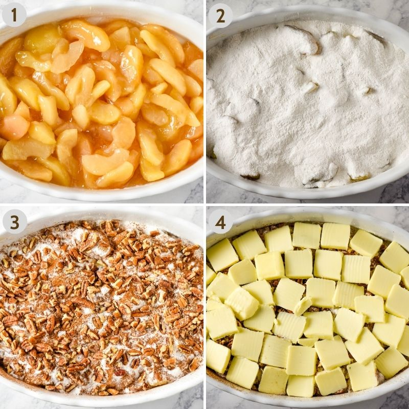 steps for how to make caramel apple dump cake, including apple pie filling in oval white baking dish, then cake mix on top of apples, cinnamon and chopped pecans sprinkled over cake mix, and slices of butter on the top