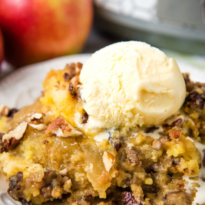 Easy CrockPot Apple Dump Cake Dessert Recipe