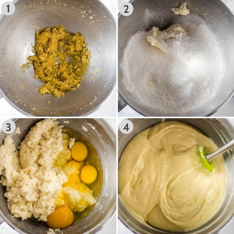 steps for how to make gluten-free lemon pound cake batter in stainless steel mixing bowl, including 1. mixing lemon zest and sugar together; 2. adding cream cheese and yellow cake mix; 3. mixing in canola oil, hot water, lemon extract, and eggs; and 4. mixing batter until smooth and creamy