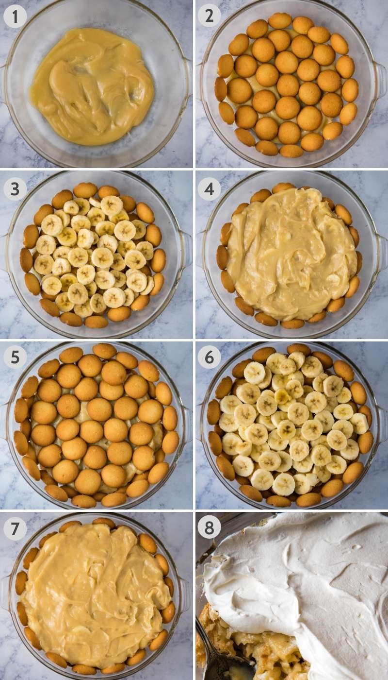 steps for how to layer banana pudding, including adding small amount of pudding, then vanilla wafers, then sliced bananas, then more pudding, vanilla wafers, bananas, more pudding, and whipped cream on top