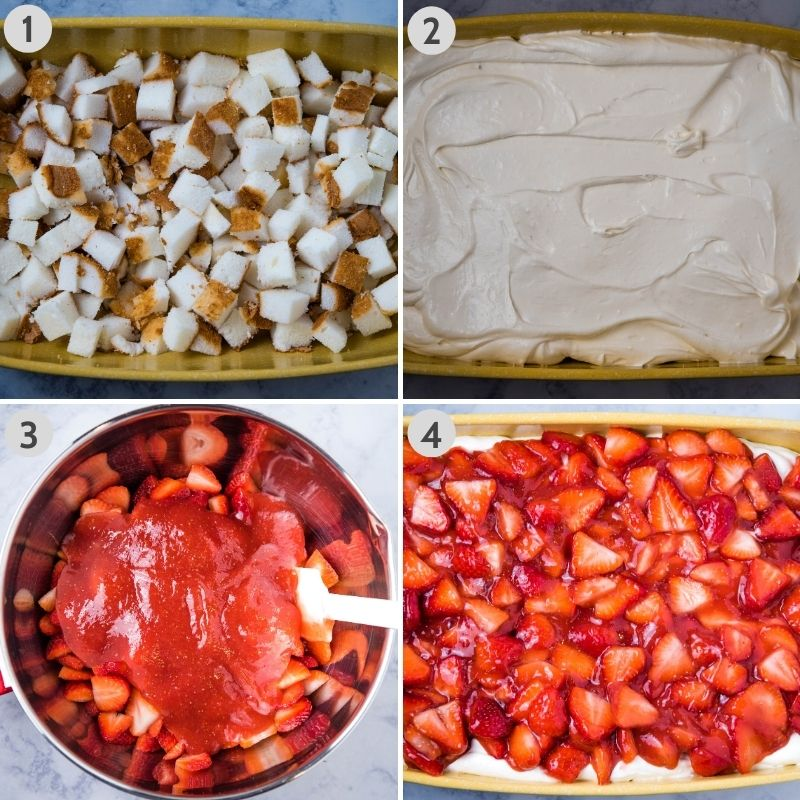 steps for layering strawberry angel food cake dessert in yellow baking dish, including layering angel food cake cubes, spreading Dream Whip filling, mixing sauce and strawberries together, then spreading strawberry sauce layer on top