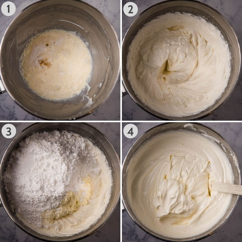 steps for making Dream Whip cream cheese filling in stainless KitchenAid mixing bowl